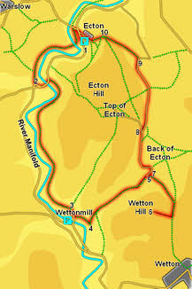 Map for walk at Ecton and Manifold Valley