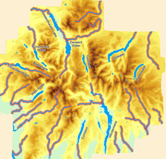 Map of Rivers of the Lake District